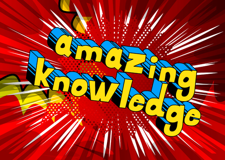 Amazing Knowledge Comic book style word on abstract background.