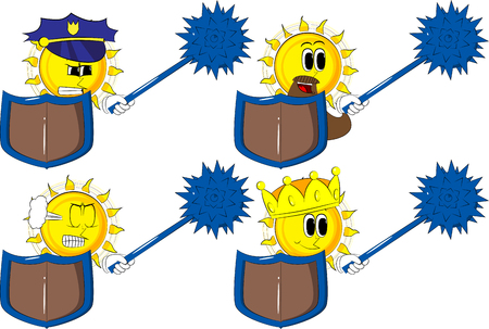 Cartoon knight sun holding a spiked mace and shield. Collection with costume. Expressions vector set illustration.