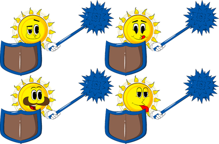 Cartoon knight sun holding a spiked mace and shield. Collection with happy faces. Expressions vector set illustration.