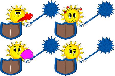 スパイクメイスとシールドを保持する漫画の騎士の太陽。様々な表情を持つコレクション。●ベクトルセットイラスト。