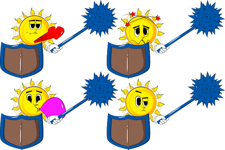 Cartoon knight sun holding a spiked mace and shield. Collection with various facial expressions. Vector set illustration.