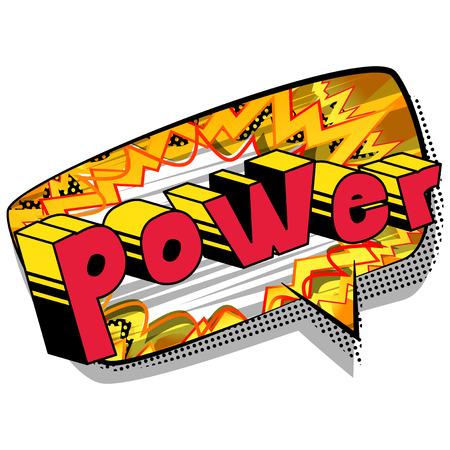 抽象的な背景にパワーコミックブックスタイルの単語。  イラスト・ベクター素材