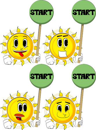 Cartoon sun holding start sign. Collection with happy faces. Expressions vector set.