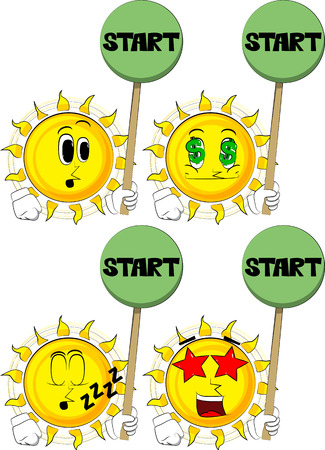 Cartoon sun holding start sign. Collection with various facial expressions. Vector set. Illustration