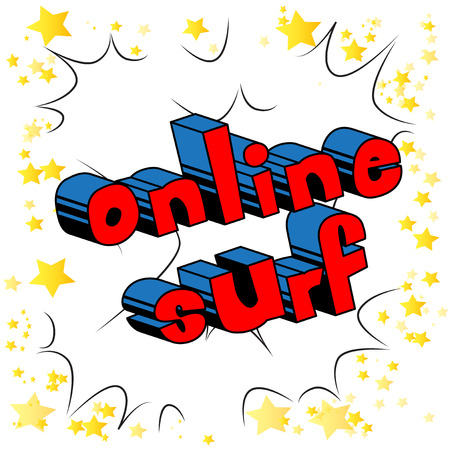Online Surf - Comic book style word on abstract background.