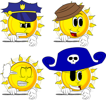 Cartoon sun zipping a banner. Collection with costume. Expressions vector set. Illustration