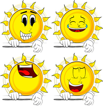 Cartoon sun zipping a banner. Collection with happy faces. Expressions vector set. Illustration