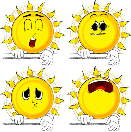 Cartoon sun zipping a banner. Collection with sad faces. Expressions vector set.