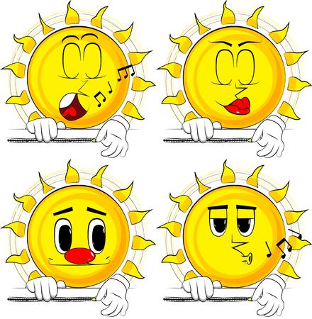 만화 태양 배너를 압축합니다. 다양 한 얼굴 표정으로 컬렉션입니다. 벡터 설정입니다.