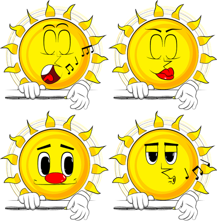 Cartoon sun zipping a banner. Collection with various facial expressions. Vector set.