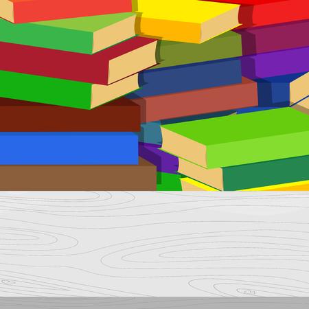 배경에 서의 스택과 함께 빈 학교 책상. 교육 개념입니다. 벡터 만화 스타일 그림입니다. 일러스트