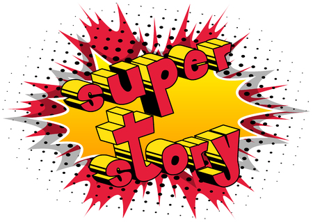 Super Story - Comic book style word on abstract background. Banco de Imagens - 92991695