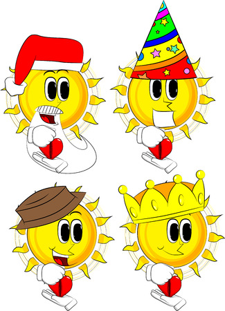 Cartoon sun zipping his heart. Collection with costume. Expressions vector set.