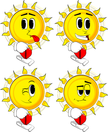 Cartoon sun zipping his heart. Collection with happy faces. Expressions vector set.