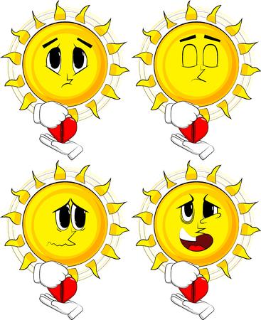만화 태양 그의 마음을 압축합니다. 슬픈 얼굴로 수집합니다. 식 벡터 집합입니다.