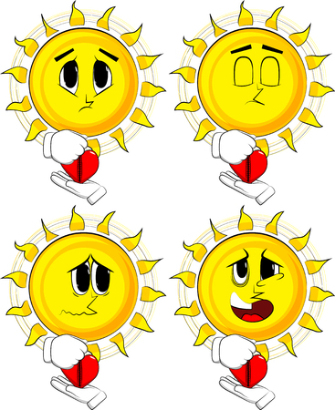 Cartoon sun zipping his heart. Collection with sad faces. Expressions vector set.