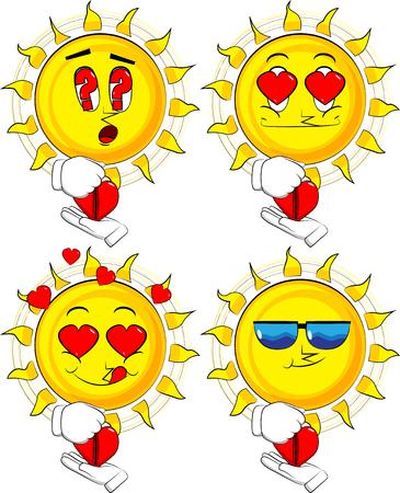 Cartoon sun zipping his heart. Collection with various facial expressions. Vector set.