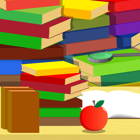 School books, magnifying glass, apple on a desk and stack of books on the background, education concept. Vector cartoon style illustration.