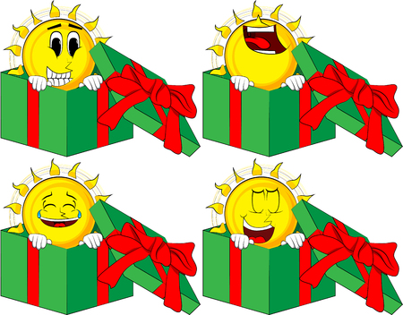 Cartoon sun in a gift box. Collection with happy faces. Expressions vector set. Ilustração