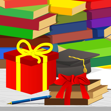 School books, pen, graduation cap with gift box and stack of books on the background. Education concept. Vector cartoon style illustration.