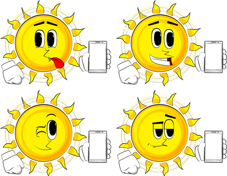 Cartoon sun holding smartphone with blank white screen. Collection with happy faces. Expressions vector set.
