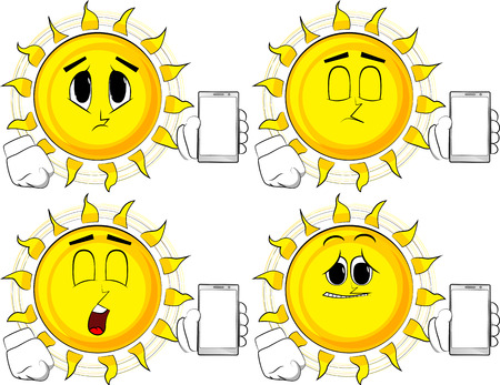 Cartoon sun holding smartphone with blank white screen. Collection with sad faces. Expressions vector set. Illustration