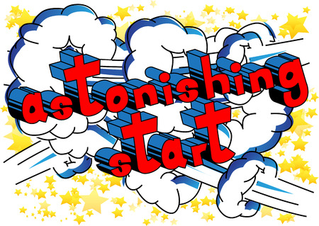 Astonishing Start - Comic book style word on abstract background. Иллюстрация