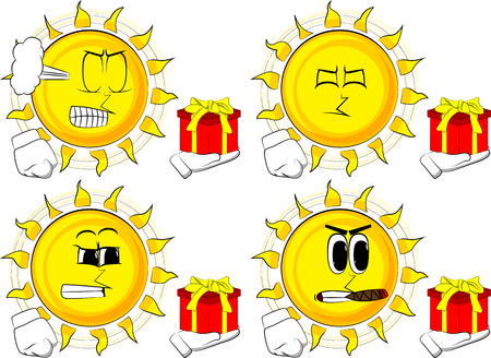 Cartoon sun holding small gift box. Collection with angry faces. Expressions vector set.