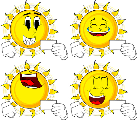 Cartoon sun holding blank white card mockup. Collection with happy faces. Expressions vector set.