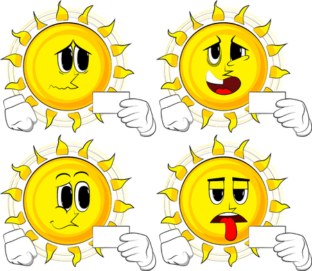 Cartoon sun holding blank white card mockup. Collection with sad faces. Expressions vector set. Illustration