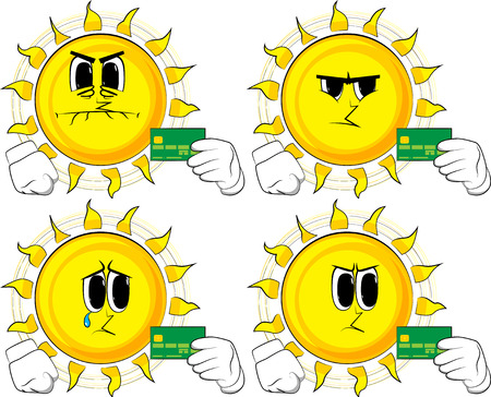 Cartoon sun holding credit card. Collection with angry faces. Expressions vector set.