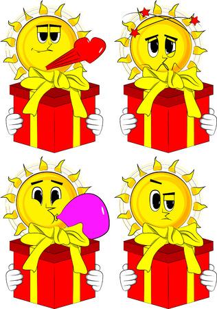大きなギフトボックスを保持する漫画の太陽。様々な表情を持つコレクション。ベクトルセット。