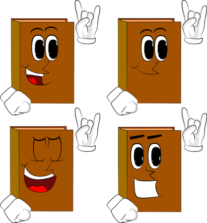 Books with hands in rocker pose. Cartoon book collection with happy faces. Expressions vector set.