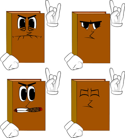 Books with hands in rocker pose. Cartoon book collection with angry faces. Expressions vector set. Иллюстрация