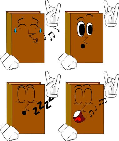Livros com as mãos em pose de balancim. Coleção de livros de desenhos animados com várias faces. Conjunto de vetores de expressões. Foto de archivo - 93372563