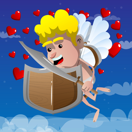 Cupid with a sword and shield. Vector cartoon character illustration. Illustration