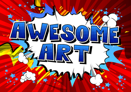 Awesome Art - Comic book style word on abstract background. Ilustração