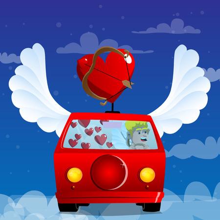 Cupid driving his car. Vector cartoon character illustration.