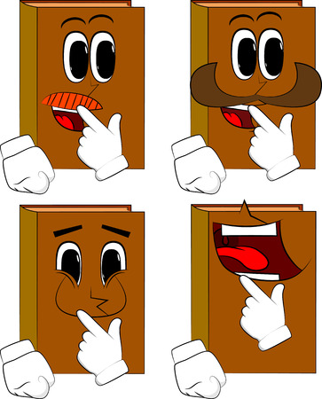 Books holdin finger front of his mouth. Cartoon book collection with happy faces. Expressions vector set.