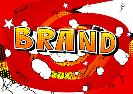 Brand - Comic book style word on abstract background. Illustration