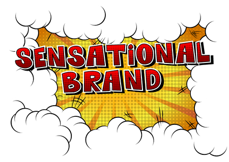 Sensational Brand - Comic book style word on abstract background.