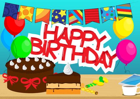 케이크, 휴대 전화 및 테이블, 풍선 및 배경에 생일 텍스트에 커피 한잔. 벡터 만화 스타일 그림입니다.