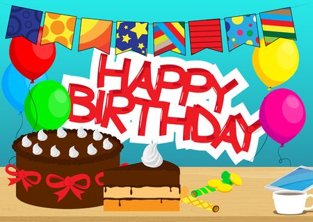 Cake, mobile phone and a cup of coffee on a table, balloons and Happy Birthday text on the background. Vector cartoon style illustration. Çizim