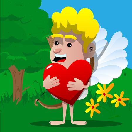 Cupid holding big red heart. Vector cartoon character illustration.
