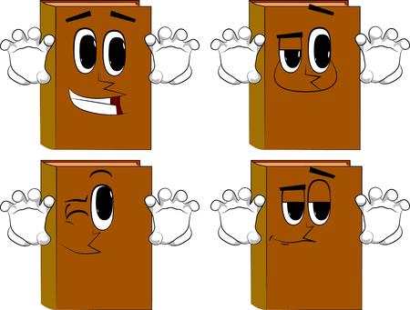 책이 당신을 놀라게하려고합니다. 행복 한 얼굴로 만화 책 컬렉션입니다. 식 벡터 집합입니다.