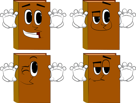 Books are trying to scare you. Cartoon book collection with happy faces. Expressions vector set. 向量圖像