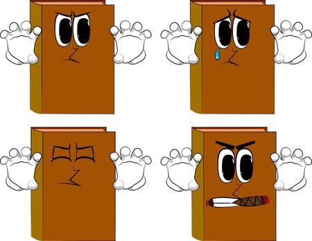Books are trying to scare you. Cartoon book collection with angry and sad faces. Expressions vector set.