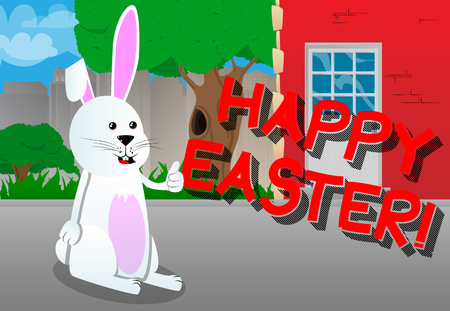 Lapin de pâques donnant vous voir vecteur de dessin animé de caractère . illustration de dessin animé Banque d'images - 93842429
