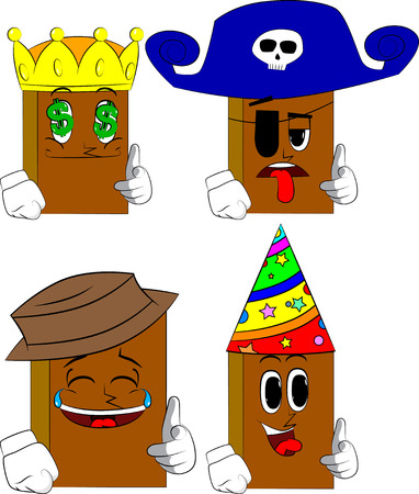 Books pointing at the viewer with his hand. Cartoon book collection with costume faces. Expressions vector set.