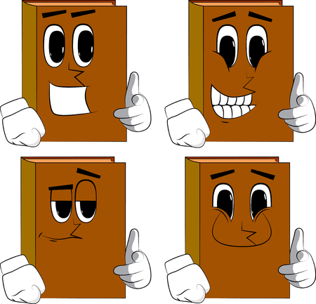 Books pointing at the viewer with his hand. Cartoon book collection with happy faces. Expressions vector set.